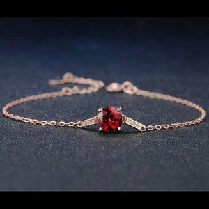 ❤️ Natural Red Garnet & Silver Bracelet 101357